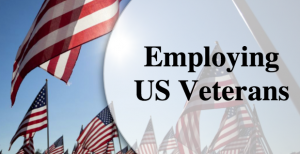 Employing US Veterans Image with American Flags